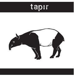 silhouette tapir in grunge design style animal vector image