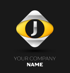 silver letter j logo in the silver-yellow square vector image