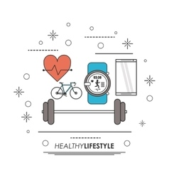Smartphone watch heart bike icon Healthy vector