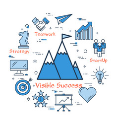success gaining concept in set of icons vector image