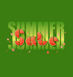 summer sale banner with colorful watermelons slice vector image