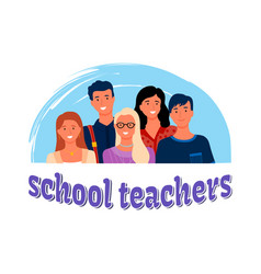 Teachers group portrait isolated man and woman vector