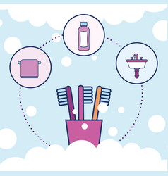 toothbrushes towel shampoo and washbasin bathroom vector image