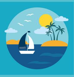 tropical island ocean landscape vector image