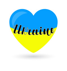ukraine lettering on hearts in the colors of blue vector image