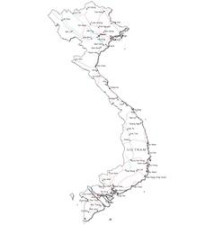 Vietnam Black White Map vector