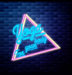 vintage yoga emblem glowing neon sign vector image