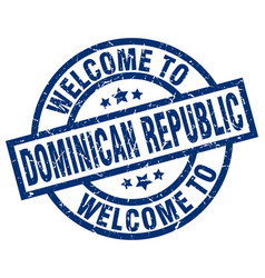 Welcome to dominican republic blue stamp vector
