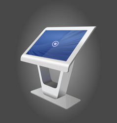 White promotional interactive information kiosk vector