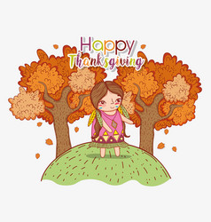 Woman indigenous with autumn trees and leaves vector