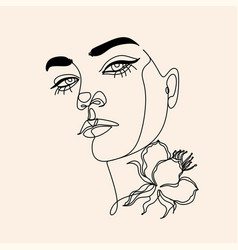 Woman line drawing face with bird and flower vector