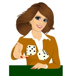 Woman throwing the dice gambling playing craps vector