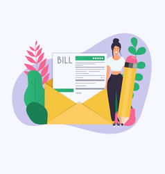 woman with pencil get a paying bill mail payment vector image