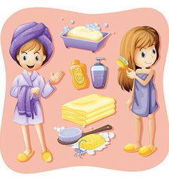 Women in bathrobe and bathroom set vector image
