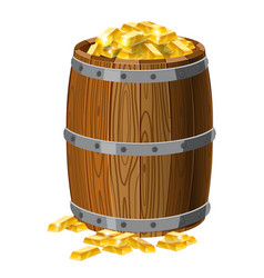 wooden barrel with treasures gold bars with vector image