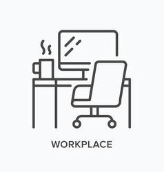 workplace line icon table computer monitor vector image