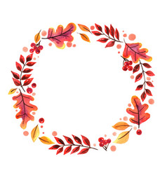 wreath autumn leaf watercolor vector image