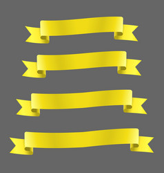 Yellow realistic ribbon banners set vector
