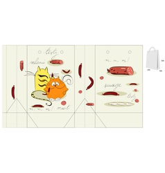 template for bag with two cats vector image vector image