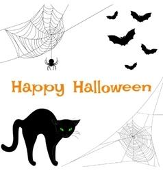 webs black cat and bats vector image