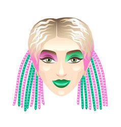 blonde girl with colorful pigtails isolated on vector image vector image