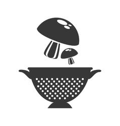 Mushrooms and kitchen colander vector
