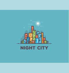 Night city line panorama vector