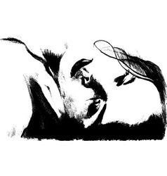sketch girl vector image