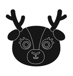 deer muzzle icon in black style isolated on white vector image