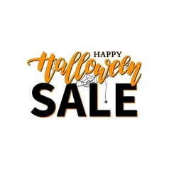 Halloween Sale banner with lettering vector image