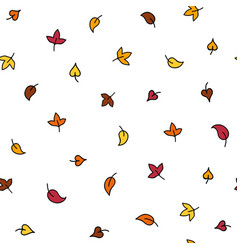 minimalistic autumn leaves doodle seamless pattern vector image vector image