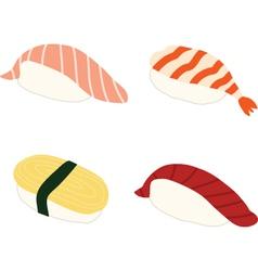 Salmon Shrimp Sweet omlette Tuna Sushi vector image vector image
