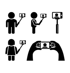 Selfie With Mobile Phone Icons Set vector image