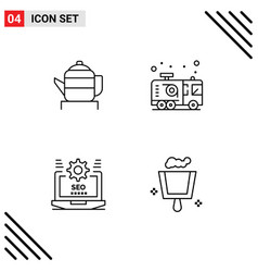 4 line concept for websites mobile and apps tea vector