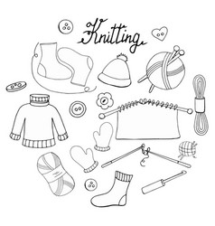 a set of hand-drawn objects for knitting vector image