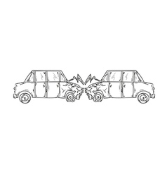 Accident of two cars sketch vector