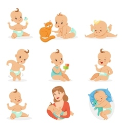 Adorable Happy Baby And His Daily Routine Set Of vector