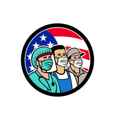 American front line workers as heroes circle vector