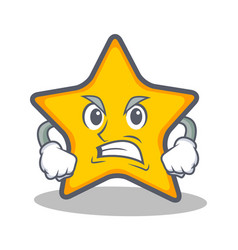 Angry star character cartoon style vector