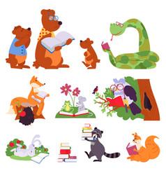 Animals reading bird animal read book cute vector
