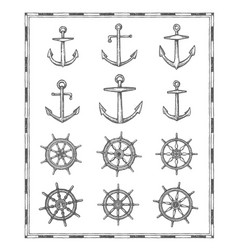Antique map elements sail anchor and helm sketch vector