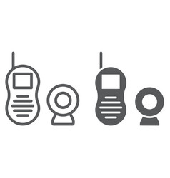 Baby monitor line and glyph icon child vector