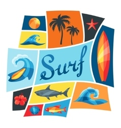 Background with surfing design elements and vector
