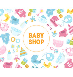 bashop banner template kids store badge with vector image