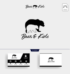 Bear mom and kids parents logo template vector