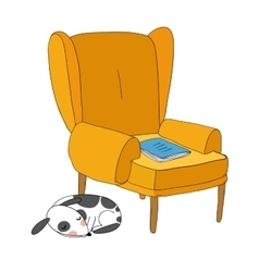 Beautiful vintage chair notebook and a cute dog vector image