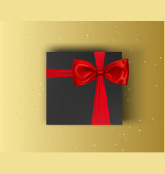 blank black gift box with red ribbon and bow on vector image