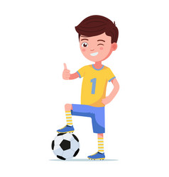boy soccer player standing with foot on a ball vector image