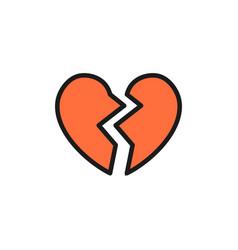 broken heart valentine day flat color icon vector image