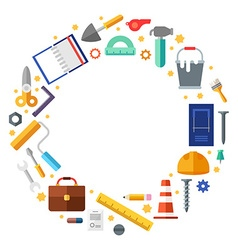 Builder tools in the shape of circle in flat vector image